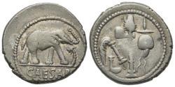 Ancient Coins - Julius Caesar, military mint traveling with Caesar, April-August 49 BC. AR Denarius. Elephant R/ Emblems of the pontificate: simpulum, aspergillum, securis, and apex.