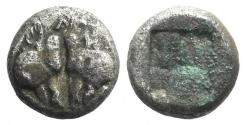 Ancient Coins - Lesbos, Unattributed early mint, c. 500-450 BC. BI Obol. Confronted boars' heads.
