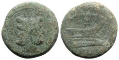 Ancient Coins - ROME REPUBLIC Branch series, Sicily, 209-208 BC. Æ As.  R/ Prow of galley, laurel branch above. RARE