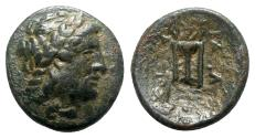 Ancient Coins - Seleukid Kings, Antiochos II (261-246 BC). Æ - Apollo / Tripod