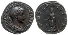 Ancient Coins - Gordian III (238-244). Æ Sestertius - R/ Gordian sacrificing