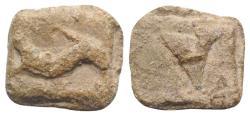 Ancient Coins - Roman PB Tessera, c. 1st century BC - 1st century AD. Dolphin  R/ Large V