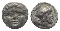 Ancient Coins - Pisidia, Selge, c. 350-300 BC. AR Obol. Facing gorgoneion. R/ Helmeted head of Athena