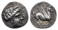 Ancient Coins - Spain, Emporion. Second Punic War, c. 218-206 BC. AR Drachm. Wreathed head of Arethousa. R/ Pegasos flying