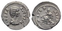 Ancient Coins - Julia Domna (Augusta, 193-217). AR Denarius. Rome, c. 198-207. R/ Cybele