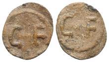 Ancient Coins - Roman PB Tessera, c. 1st century BC - 1st century AD. C•F. R/ C•F