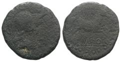 Ancient Coins - Spain, Emporion, late 1st century BC. Æ As. R/ PEGASOS