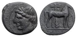 Ancient Coins - Carthage, c. 400-350 BC. Æ - Tanit / Horse with palm tree