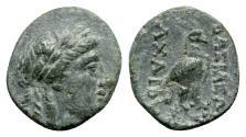 Ancient Coins - Seleukid Kings, Achaios (Usurper, 220-214 BC). Æ - Apollo / Eagle