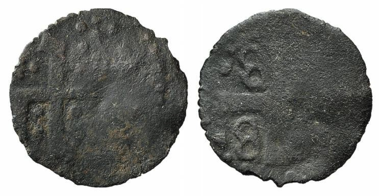 World Coins - CRUSADERS, Mytilene, Gattilusio, Anonymous AE Denaro  Gothic Y and rosettes. R/ Palaeologan arms VERY RARE