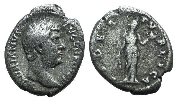 Ancient Coins - Hadrian (117-138). AR Denarius. Rome, c. 134-138. R/ Fides