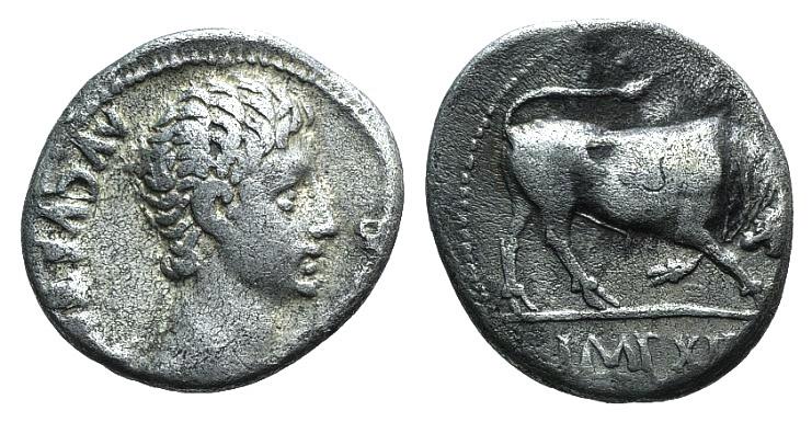 Ancient Coins - Augustus. 27 BC-AD 14. AR Denarius. Lugdunum (Lyon) mint. Struck 11 BC. R/ Bull