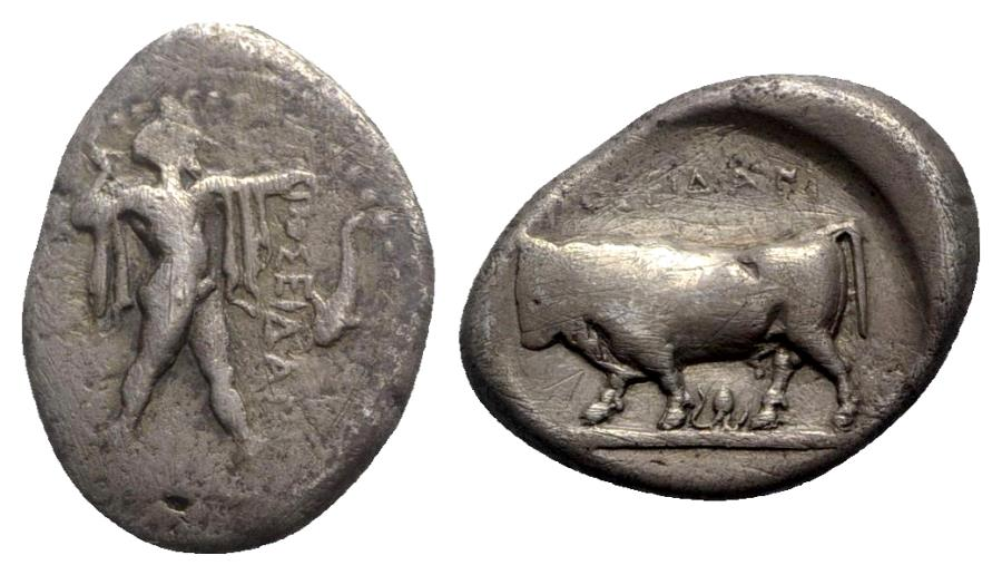 Ancient Coins - Northern Lucania, Poseidonia, c. 420-390 BC. AR Stater - Octopus symbol - RARE