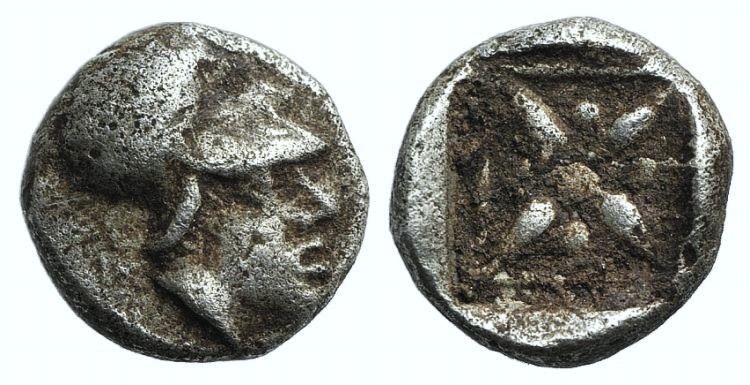 Ancient Coins - Asia Minor, Uncertain, 5th century BC. AR Hemiobol