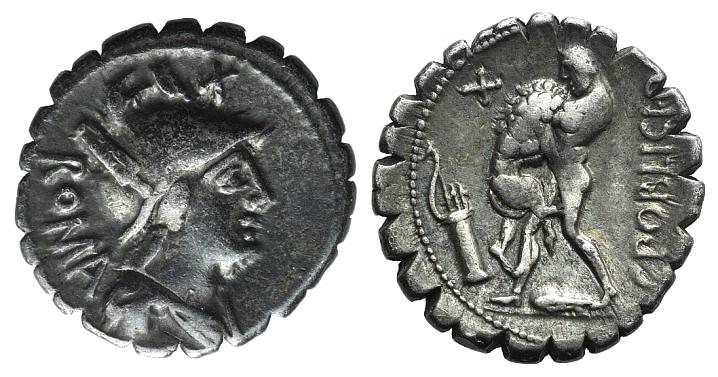 Ancient Coins - Rome Republic C. Poblicius Q.f., Rome, 80 BC. AR Serrate Denarius