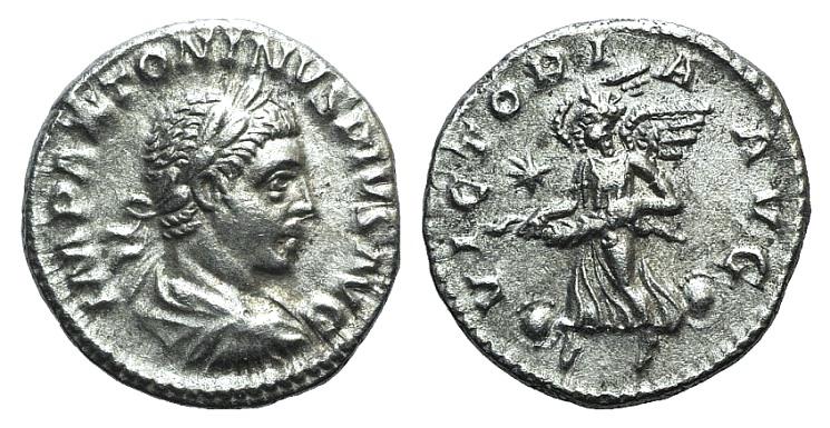 Ancient Coins - Elagabalus (218-222). AR Denarius. Rome, 220-222.  R/ Victory