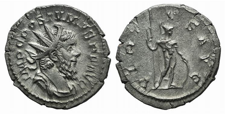 Ancient Coins - Postumus (260-269). AR Antoninianus. Treveri, 262. R/ Virtus