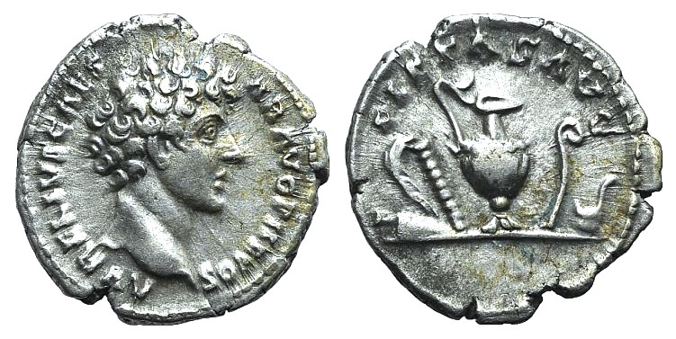 Ancient Coins - Marcus Aurelius (Caesar, 139-161). AR Denarius. Rome, 140-4.  R/ Emblems of priesthood: secespita, aspergillum, capis, lituus, and simpulum.