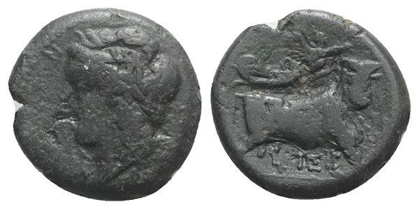 Ancient Coins - ITALY. Southern Campania, Neapolis, c. 270-250 BC. Æ 21mm. R/ Man-headed bull