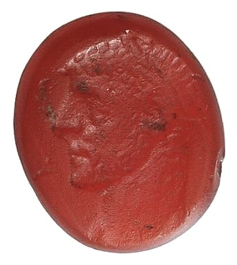 Ancient Coins - Maximianus (286-305). Red glass Intaglio RARE