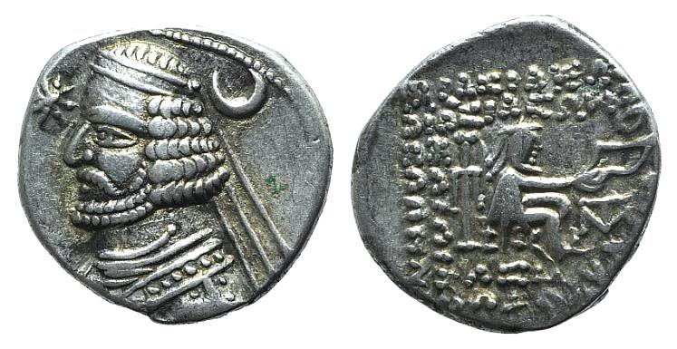 Ancient Coins - Kings of Parthia. Orodes II (c. 57-38 BC). AR Drachm. Mithradatkart.