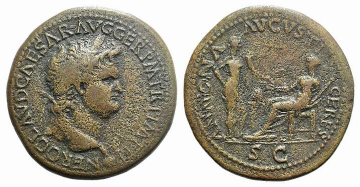 Ancient Coins - Nero (54-68). AE Sestertius. Lugdunum, c. 65. R/ Annona