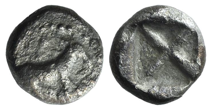 Ancient Coins - Macedon, Mende, c. 480-460 BC. AR Tetrobol