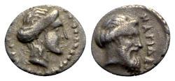 Ancient Coins - Cilicia, Nagidos, c. 400-380 BC. AR Obol, Aphrodite - Dionysos.