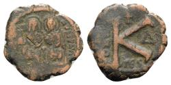 Ancient Coins - Justin II and Sophia (565-578). Æ 20 Nummi - Thessalonica