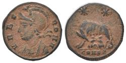Ancient Coins - Commemorative Series, 330-354. Æ Follis. Constantinople, 333-5. R/ She-wolf standing and the twins Romulus and Remus