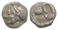 Ancient Coins - Ionia, Phokaia, c. 521-478 BC. AR Diobol. Archaic female head