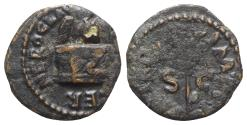 Ancient Coins - Nero (54-68). Æ Quadrans - Rome - Owl on altar / Branch