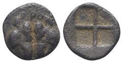 Ancient Coins - Lesbos, Unattributed early mint, c. 500-450 BC. BI Obol. Confronted boars' heads