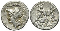Ancient Coins - ROME REPUBLIC Q. Minucius Thermus M. f. Roma, 103 BC. AR Plated Denarius. R/ Two warriors in combat
