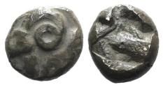 Ancient Coins - Ionia, Uncertain, c. 5th century BC. AR Tetartemorion. Head and neck of ram UNPUBLISHED