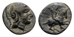 Ancient Coins - Mysia, Astyra. Tissaphernes (c. 400-395 BC). Æ Chalkous - Athena / Tissaphernes on horseback