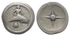 Ancient Coins - ITALY, CALABRIA, Tarentum. Circa 480-470 BC. AR Nomos SCARCE