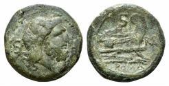 Ancient Coins - ROME REPUBLIC Roma monogram series, Southeast Italy, 211-210 BC. Æ Semis RARE