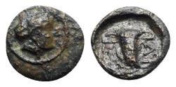 Ancient Coins - Thrace, Uncertain, 4th century BC. Æ - Female head / Cup
