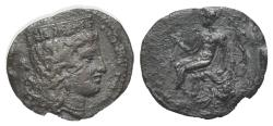 Ancient Coins - Sicily, Himera as Thermai Himerensis, c. 350-330 BC. AR Litra. R/ Herakles, holding club, seated l. on rock