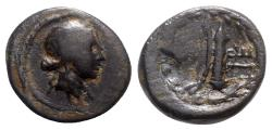 Ancient Coins - Lydia, Hierocaesarea, c. 2nd-1st century BC. Æ - Apollo / Bow with quiver - VERY RARE