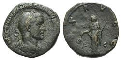 Ancient Coins - Trebonianus Gallus (251-253). Æ Sestertius. Rome, mid-late AD 251. R/ PAX