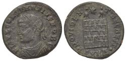 Ancient Coins - Constantius II (Caesar, 324-337). Æ Follis. Heraclea, AD 326. R/ Camp gate with two turrets