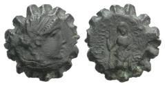 Ancient Coins - Seleukid Kings, Demetrios I (162-150 BC). Serrate Æ 14mm