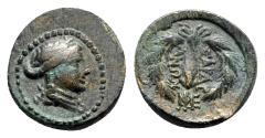Ancient Coins - Lydia, Sardeis, 2nd-1st century BC. Æ - Apollo / Club in wreath