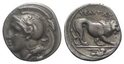 Ancient Coins - ITALY. Northern Lucania, Velia, c. 400-340 BC. AR Didrachm. T Group. R/ LION