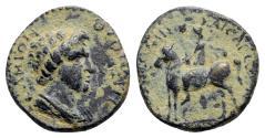 Ancient Coins - Lydia, Mostene. Pseudo-autonomous issue, time of Vespasian (69-79). Æ - Senate / Hero on horse