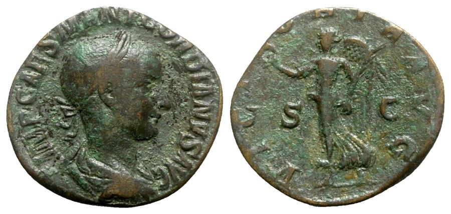 Ancient Coins - Gordian III (238-244). Æ Sestertius - Rome - R/ Victory