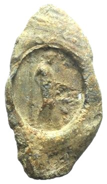 Ancient Coins - Roman Pb Seal, c. 3rd-2nd century BC. Figure standing r., sacrificing over altar (?)