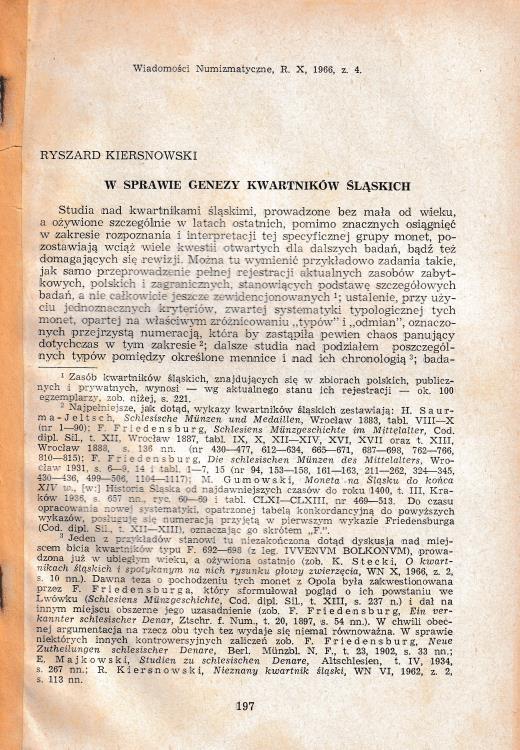 """Ancient Coins - Kiersnowski R., W Sprawie Genezy Kwartnikow Slaskich. Reprinted from """"Wiadomosci Numizmatyczne, R. X z. 4"""""""